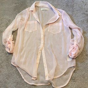 Pink Sheer Button-Down Top - Moving Sale!